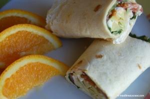 Hummus veggie wrap lunch