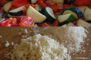 Zucchini, bell pepper, low fat feta and parmesan cheese