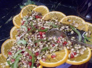 Sprout and pomogranate salad